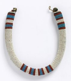 South Africa | Necklace; glass beads, natural fiber and metal | Late 19th to early 20th century