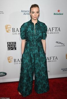 c11a8df4ecff House of Ollichon loves...Jodie Comer stuns in a satin emerald flared  jumpsuit