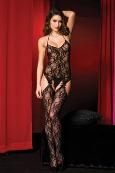 013600692 Love this Black Lace Suspender Peekaboo Gusset Body Stocking - Women on