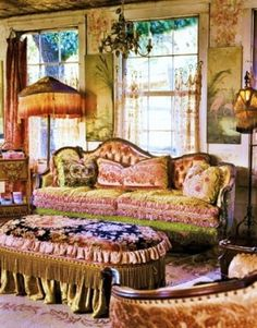 Cool Victorian Living Room: Ornate Victorian furniture and a fringed ottoman and lamps contrast with rustic wood walls and sheer window shades. The post Victorian Living Room: Ornate Vic . Casas Shabby Chic, Estilo Shabby Chic, Bohemian Living, Hippie Bohemian, Bohemian Style, Gypsy Style, Boho Chic, Bohemian Homes, Boho Gypsy