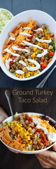 Ground Turkey Taco Salad | http://thecookiewriter.com | @thecookiewriter | #salad | A healthy lunch for the office or back to school (and this taco salad is easily customized to your liking!)