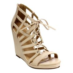 CHASE  and  CHLOE CD48 Women's Strappy Cut Out Caged Gladiator Wedge Sandals *** New and awesome product awaits you, Read it now  : Lace up sandals