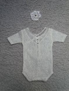 0-1 month Newborn Lace Romper, Baby Girl Headband,  Prop Outfit, Baby Girl Photo Props,  Baby Romper, Newborns Girls Props, Baby Prop Outfit by KaroLovewdzianka on Etsy