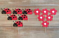 Ladybug Cupcake Toppers. Ladybug Birthday Party. от TheTealTree