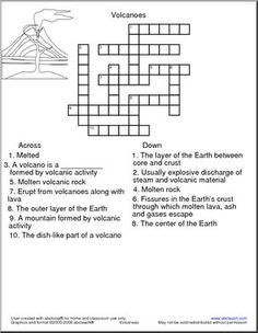 Crossword: Volcano - 1 DOWN: The layer of the Earth between core and crust. Shape Worksheets For Preschool, Homeschool Worksheets, Science Worksheets, Printable Worksheets, Free Printable, Printables, Homeschooling, Curriculum, Earth Science Lessons