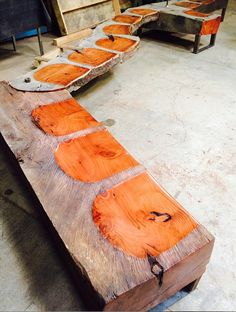Love this unique reclaimed bench design. Photo cred: Erin Cuff.