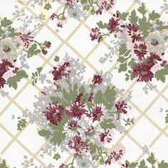 Vintage Laura Ashley, Pink and Red Flowers On A White Background With Beige Diamonds