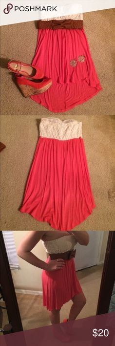 Rue 21 pink and white straplessdress Belt is not included. Make me an offer! Rue 21 Dresses High Low