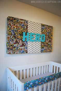 Comic Superhero Nursery Wall Decor How-to I think I would but the baby's name instead of hero...