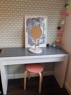 Ikea malm dressing table, cable and cotton lights, famille summerbelle print