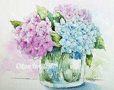 Watercolor Paintings by RoseAnn Hayes: Hydrangeas Watercolor Painting