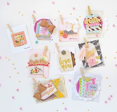 by Rebecca Luminarias for Gossamer Blue - pretty tags, I would have to keep them all tho! Scrapbook Journal, Scrapbook Cards, Gossamer Blue, Diy Crafts For Girls, Doodle Lettering, Handmade Tags, Candy Cards, Scrapbook Embellishments, Card Tags