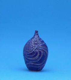 Valentines Day, Indigo, Octopus Hand Made Vase with a Heart by CindySearles on Etsy