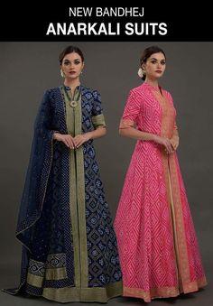 Designer Outfits: Anarkali Suits, Dresses & Designer Gowns in Houston - ertug Bandhani Dress, Sari Dress, Anarkali Dress, Lehenga, Saree Gown, Anarkali Suits, Punjabi Suits, Kurta Designs, Kurti Designs Party Wear