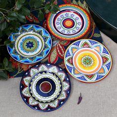 "Beautiful Authentic Hand Draw 8.5"" Ceramic Glaze Dinner Plates 4 Style Options"