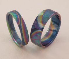 Ground Texture Rainbow Color Titanium Handmade Wedding  Bands