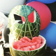 Everyone needs a signature party piece! At every party we do a watermelon carving to match the theme. This awesome Spidey mask was done by my talented brother If only we had time to do pretty melon balls. Watermelon Birthday Parties, 4th Birthday Parties, Birthday Party Decorations, Avengers Birthday, Superhero Birthday Party, Man Birthday, Birthday Ideas, Best Christmas Toys, Birthday Gifts For Women