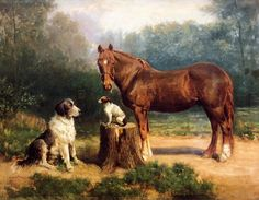 Henry Ossawa Tanner, Horse And Two Dogs In A Landscape, 1891
