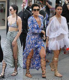 Who's the Hottest in Her Knee-High Sandals, Kendall, Kourtney, or Mom Kris? | Buy ➜ http://shoespost.com/kendall-kourtney-kris-jenner-kardashian-gladiator-sandals-stuart-weitzman-chanel-valentino-st-barts-2015/