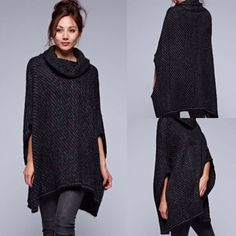 Love Stitch Black & Charcoal Textured Two Tone Poncho Sweater #LoveStitch #CowlNeck