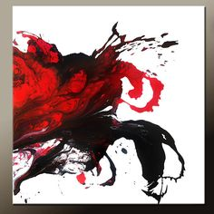 Red Abstract Canvas Art Painting Huge 36x36 Contemporary