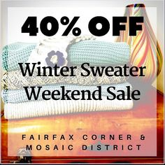 FLASH SALE 40% OFF winter sweaters today through Monday. Just when you thought spring had arrived, winter pays another cold visit. Greet it in comfort & style with a 40% OFF sweater from either UB location. Great deals always warm the heart! 🔥🛍🔥 #wintersback #sweater #sale #discount #shopping #flashsale #boutique #fashion #style #retailtherapy #mosaicdistrict #fairfaxcorner #shopsmall