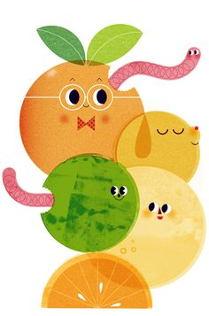 Wormy fruit- cute and gross all at the same time... :)