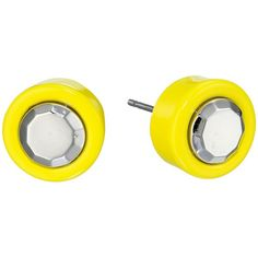 Marc by Marc Jacobs Metal Kandi Circle Studs Earrings (Disco Yellow)... ($18) ❤ liked on Polyvore featuring jewelry, earrings, yellow, metal stud earrings, colorful stud earrings, multi color earrings, post earrings and multi color stud earrings