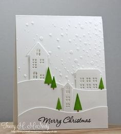 Simon Says Stamps Village dies winter card - white on white with green trees - bjl