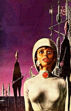 """Horrific image from Ed Emshwiller's cover for the 1958 """"Recalled to Life."""" The spacewoman looks a lot like a terrified Jane Fonda."""