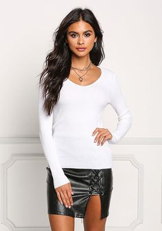 White Ribbed Knit Long Sleeve Top - New