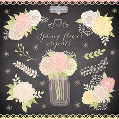 Spring flower clipart Mason Jar Wedding clipart от 1burlapandlace