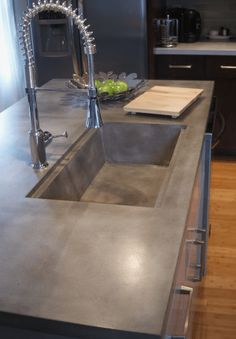 Supreme Kitchen Remodeling Choosing Your New Kitchen Countertops Ideas. Mind Blowing Kitchen Remodeling Choosing Your New Kitchen Countertops Ideas. Concrete Sink, Concrete Furniture, Kitchen Furniture, Furniture Stores, Concrete Kitchen Countertops, Kitchen Interior, Furniture Outlet, Discount Furniture, Cheap Furniture