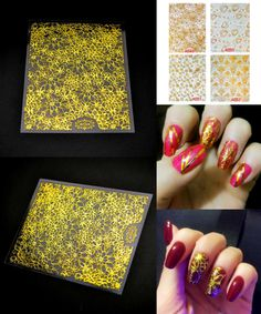[Visit to Buy] 1 Sheet Glod and Embossing 3D Nail Stickers 3D Nail Art Stickers Blooming Leaf Flower Nail Art Sticker Decals Tools ZJT050 #Advertisement