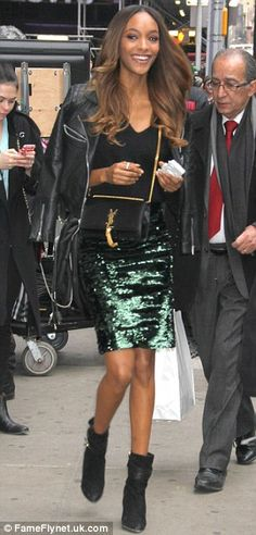 Glamorous start: Jourdan wore a dark green sequined pencil skirt with a leather jacket han. Sequin Pencil Skirt, Jourdan Dunn, Joan Smalls, Types Of Women, People Dress, Teen Vogue, Skin Tight, Black Ankle Boots, Get Dressed