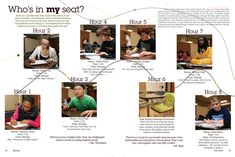 """Great idea to showcase a variety of students...I like the """"a day in the life idea"""" except just profile a specific chair in a classroom and interview all the students who sit in that chair throughout the day"""