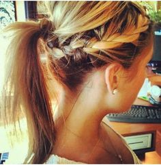 I need to learn how to braid my own hair so I can get a cute ponytail like this one.
