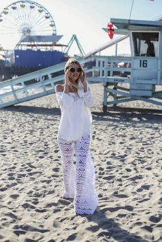 Pants: ohh couture blogger sunglasses jewels white see through white lace white top off the shoulder
