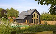 An oak-frame flat-pack house