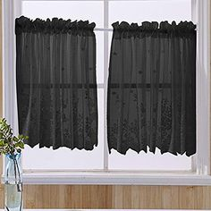 vctops Lace Sheer Kitchen Tier Curtain Set Floral Embroidered Cafe Tiers Rod Pocket Small Half Window Curtains 2 Panels (54″ x 24″, Black) Half Window Curtains, Tier Curtains, Cafe Curtains, Valance Curtains, Interior Decorating, Interior Design, Curtain Sets, Rod Pocket, Soft Furnishings