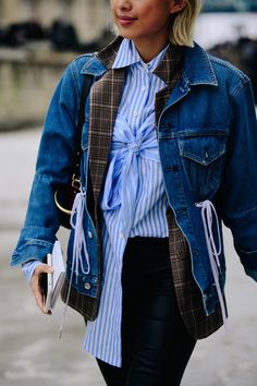 Street style during Paris Fashion Week on Thursday, March 1st in Paris, France. Photo by Adam Katz Sinding for W Magazine.