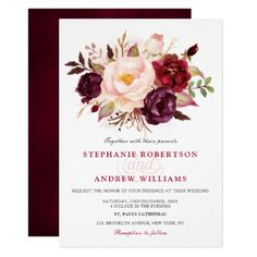 Watercolor Burgundy Red Floral Rustic Boho Invitation - winter wedding diy marriage customize personalize couple idea individuel