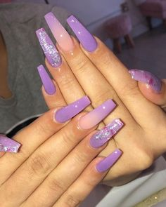 50 Stunning And Gorgeous Summer Coffin Acrylic Nail Designs For Your Inspiration – Page 41 of 50 – Long Nails Purple Acrylic Nails, Coffin Nails Matte, Aycrlic Nails, Best Acrylic Nails, Purple Nails, Acrylic Nail Designs, Glitter Nails, Black Nails, Stiletto Nails