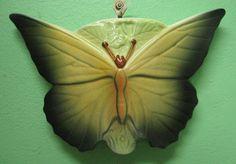 Albaware Australian pottery butterfly shaped wall pocket / wall vase Australian Vintage, Old Vases, Butterfly Shape, Wall Brackets, Ceramic Clay, Vintage Pottery, Pottery Vase, Flower Wall, Sculpting