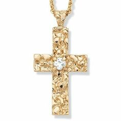 "5/8-Carat Round Cubic Zirconia 14k Yellow Gold-Plated Nugget Cross Pendant and Rope Chain 20"" Palm Beach Jewelry. $12.99"