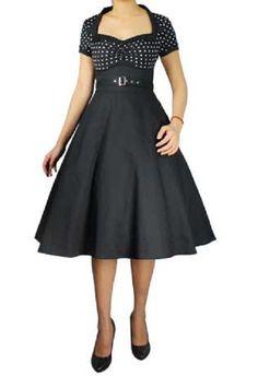 Black Polka Dot Short Sleeve Classic Full Skirt Swing Dress