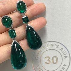Emerald and Diamond Earrings from @christiesjewels via @connieluk_christies