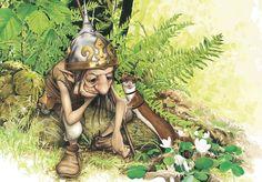 "KORRIGAN = ""Petit nain"" espiègle du folklore breton, garde des trésors des colllines. (Illustration : BRUCERO - A quoi penses-tu, Korrigan ?) Magical Creatures, Fantasy Creatures, Illustrations, Illustration Art, Figurine Dragon, Goblin Art, Fairytale Art, Weird Pictures, Fairy Art"