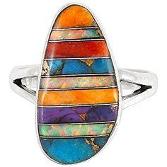 Sterling Silver Turquoise & Gemstone Ring for Women Size 6 to 11