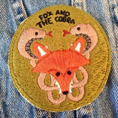 fox and the cobra patch hand embroidered hand by foxandthecobra